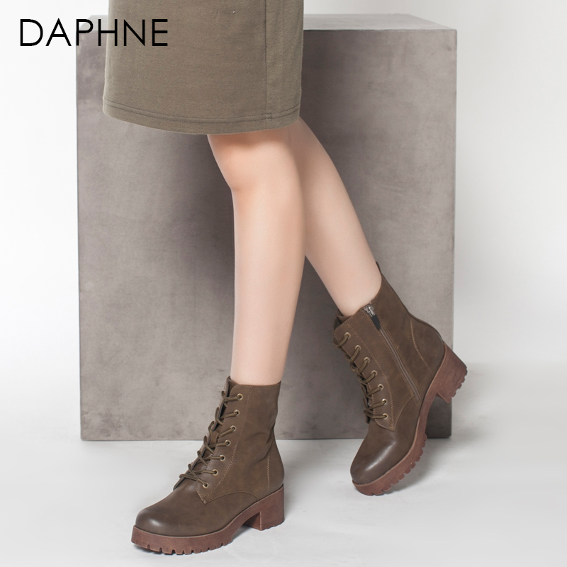 Daphne/达芙妮正品女鞋冬季低跟女靴方跟中筒靴子时尚潮流马丁靴