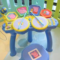 小猪佩奇架子鼓 儿童爵士鼓敲打乐器带麦克风玩具电子鼓