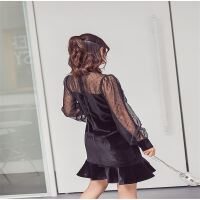 赫本小黑裙荷叶边鱼尾连衣裙长袖女新款黑色小礼服7232