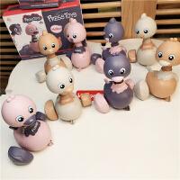 现货日本萌萌鸡呆萌鸭儿童发条玩具小鸡小鸭按压惯性回力婴幼玩具