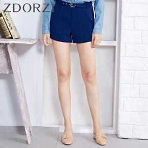 zdorzi卓多姿显瘦时尚纯色腰带休闲裤短裤女634567