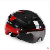 精美外观时尚耐磨头盔自行车头盔男女山地车骑行头盔带风镜眼镜一体成型