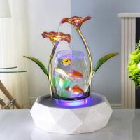 金鱼缸客厅水族箱造景生态玻璃流水家用办公桌面小型陶瓷圆形喷雾 海棠红 能喷雾