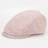 夏季帽子男 麻透气薄款遮阳纯色百搭鸭舌帽复古英伦潮贝雷帽 粉色 8377# 可调节