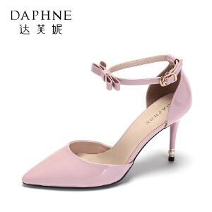 达芙妮 优雅细跟单鞋 性感尖头蝴蝶结一字扣超高跟女鞋