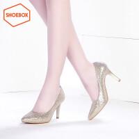 达芙妮集团 鞋柜春女单鞋浅口尖头细高跟简约时尚潮高跟鞋