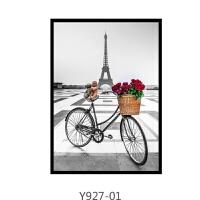 巴黎铁塔黑白客厅装饰画现代简约风景壁画欧式卧室床头挂画三联画
