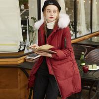 [2.5折价295.4元叠加200-30】唐狮冬新款羽绒服女毛领可脱卸中长款韩版学生羽绒服