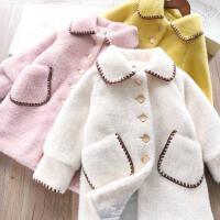 女童水貂绒夹棉大衣 韩版儿童外套中长款