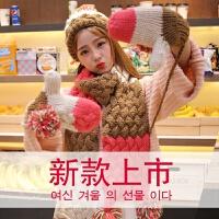 七夕礼物韩版大毛线围巾女套装冬季韩式学生加厚保暖围脖披肩情人节送女生 红色