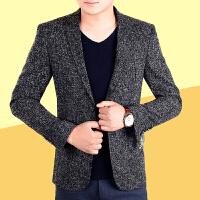春季新款中年男士商务休闲小西装夹克青年修身韩版西服外套潮 6802深灰 0