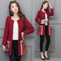 中长款韩版优雅单排扣气质女士毛呢外套 秋季长袖呢外套女