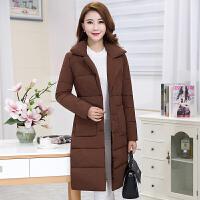 中年女装韩版棉衣冬装新款修身中长款西装领显瘦妈妈羽绒棉袄