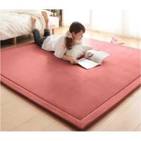 家纺2017秋冬季款床垫榻榻米地垫加厚纯色珊瑚绒地毯儿童宝宝爬行毯客厅卧室地毯飘窗垫