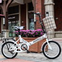 新款折叠自行车16寸20寸减震青少年单车老年男女学生儿童童车 20寸高配白色+礼包 适合130-180cm