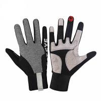 自行车手套秋冬男女骑行触屏减震全指手套户外保暖装备 黑灰色