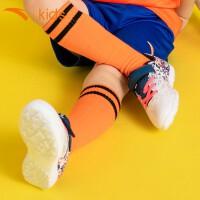 安踏童鞋 小童雄狮碎钉足球鞋2019年新款TF小学生魔术贴训练运动鞋小童球鞋儿童足球鞋 31929971-4安踏白/海