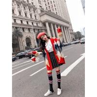 网红套装女2018秋冬季时尚韩版气质拼色毛衣外套衬衣百褶裙袜子潮