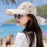 防晒帽子女户外运动大沿遮阳空顶帽太阳帽韩版户外出游沙滩帽