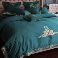 品牌四件套家纺欧式全棉100支匹马棉美式高端刺绣床上用品1.8m