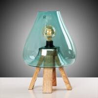 北欧美式创意玻璃罩爱迪生台灯桌面摆件时尚卧室床头灯榉木台灯