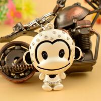 汽车钥匙链 520情人节 生日礼物 皮革钥匙圈送男女生实用小猴金属汽车钥匙扣挂件创意礼品 猴子--金色