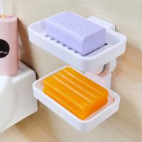 肥皂盒架吸盘香皂盒沥水吸壁挂式双层肥皂盒塑料皂架卫生间用品浴室置物架免打孔