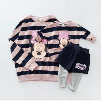 韩版亲子装新款母女母子条纹T恤儿童卡通卫衣套装一家三口装春装