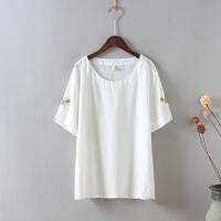 O1大码棉麻短袖刺绣衬衫 女上衣夏季修身显瘦小衫T恤休闲体恤0.15
