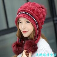 护耳针织毛线帽子女 冬季时尚潮韩版百搭加厚保暖手套韩国冬天包头 酒红色 仅帽子 针织球球 均码 有弹性