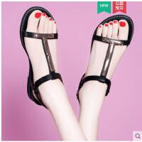 雅诗莱雅夏季新款韩国百搭平底女鞋子简约女士沙滩鞋波西米亚罗马凉鞋YS-8682-C