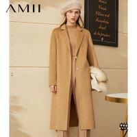 Amii轻奢纯羊毛水波纹双面呢大衣女2020冬新款H型西装领毛呢外套