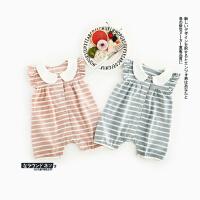 82 夏季新款婴幼儿女童纯色条纹花边爬服