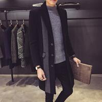 秋冬季风衣男韩版中长款呢子外套潮修身男士毛呢大衣加厚冬装