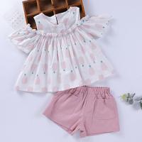 2018夏季新款女童背心+短裤菠萝套装韩版儿童甜美露肩T恤套夏