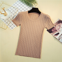 夏季新款冰丝低圆领短款套头针织T恤女针织衫紧身短袖上衣打底衫 均码