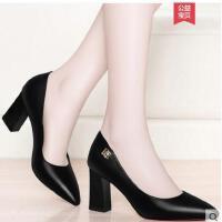 盾狐春季新款百搭粗跟单鞋黑色职业工作鞋子女士皮鞋尖头高跟女鞋DH2988