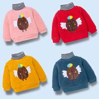 男童加绒卫衣冬季儿童装夹棉高领洋气保暖婴儿上衣潮