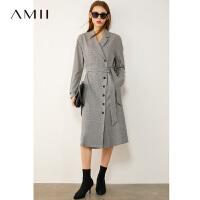 【2折叠券预估价:194元】Amii极简轻熟风名媛茶歇裙女新款千鸟格纹收腰显瘦西装连衣裙