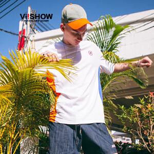 VIISHOW2018新款短袖T恤男 男士运动风套头圆领上衣拼接潮牌体恤