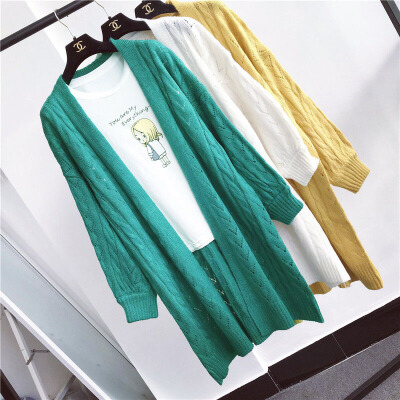 毛衣开衫外套女中长款镂空上衣纯色百搭韩版宽松灯笼袖针织衫秋季