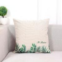 北欧时尚森林系列沙发棉麻抱枕含芯印花办公室靠垫客厅装饰靠枕套 45X45CM 枕套加枕芯