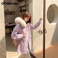 七格格othermix紫色毛呢大衣女2020年新款冬季韩版小个子日系大毛领外套潮