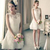 婚纱礼服新款新娘结婚伴娘服短款双肩敬酒小礼服年会表演晚礼 春 白色