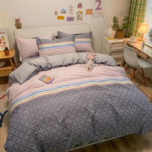 【领券立减100】全棉四件套纯棉被套床单1.8m2.0双人简约床上用品4件套纯棉四件套