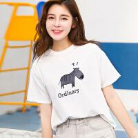 夏季新品韩版百搭宽松棉小马字母印花短袖T恤女装上衣小衫