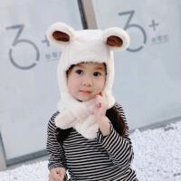 儿童帽子女宝宝护耳帽秋冬婴幼儿围巾围脖一体毛绒护耳帽