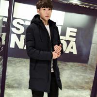 羽绒服男士中长款韩版加厚青年学生男款外套 M 100-125斤