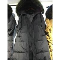 C6羽绒服女中长款冬装韩版大毛领时尚字母连帽加厚外套潮1.3