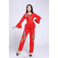 秋冬季广场舞服装套装 喇叭袖舞蹈服中老年秧歌服 红色
